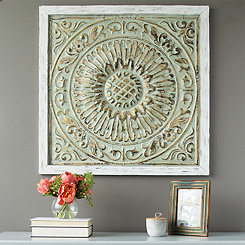 Framed Green and Gold Medallion Wall Plaque
