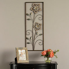 Wooden Flower Metal Panel Plaque
