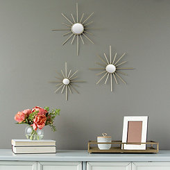 Gold Burst Decorative Wall Mirrors, Set of 3