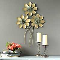 Golden Flower Bouquet Wall Plaque