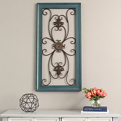 Blue Scroll Gate Wall Plaque