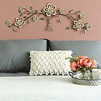 Wood Flower Metal Over the Door Wall Plaque