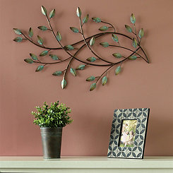 Patina Blowing Leaves Metal Wall Plaque