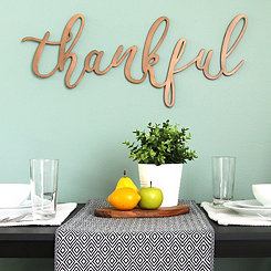 Thankful Bronze Script Wall Plaque