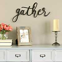 Gather Black Script Wall Plaque