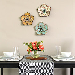 Tri-Colored Rustic Flower Wall Plaques, Set of 3