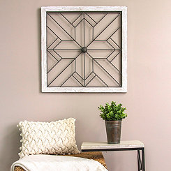 Square Metal and Wood Art Wall Plaque