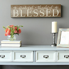 Grateful, Thankful, Blessed Wooden Wall Plaque
