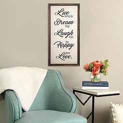 Live, Dream, Laugh, Happy, Love Framed Wall Plaque