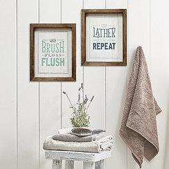 Wash, Brush, Floss, Flush Framed Wood Wall Plaque