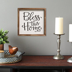 Bless this Home Framed Linen Wall Plaque