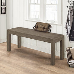 Aged Gray Wooden Dining Bench