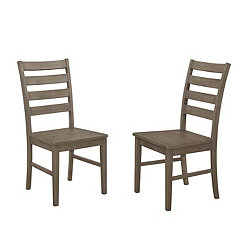 Aged Gray Ladder Back Wood Dining Chairs, Set of 2