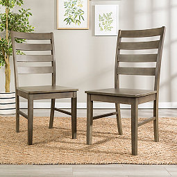 Aged Gray Ladder Back Wood Dining Chairs Set Of 2