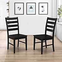 Black Ladder Back Wood Dining Chairs, Set of 2