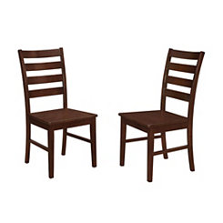 Walnut Ladder Back Wood Dining Chairs, Set of 2