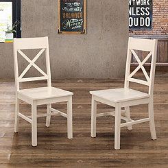 Antique White X-Back Wood Dining Chairs, Set of 2