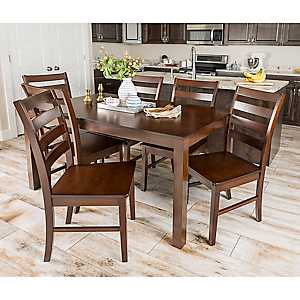 Harper Walnut Wood 7-pc. Dining Set