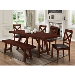 Trestle Espresso Wood 6-pc. Dining Set