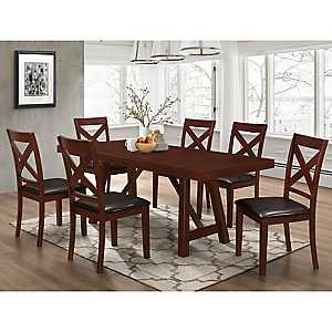 Trestle Espresso Wood 7-pc. Dining Set