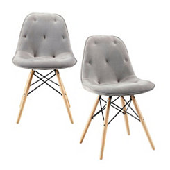 Gray Upholstered Modern Dining Chairs, Set of 2