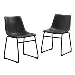 Black Faux Leather Dining Chairs, Set of 2