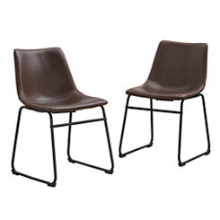 Brown Faux Leather Dining Chairs, Set of 2