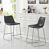 Set of 2 Black Faux Leather Counter Stools
