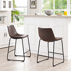 Brown Faux Leather Counter Stools, Set of 2