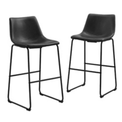 Black Faux Leather Bar Stools, Set of 2