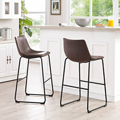 Brown Faux Leather Bar Stools, Set of 2