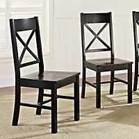 Antique Black Wood Dining Chairs, Set of 2