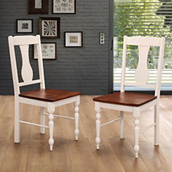 Wooden Turned Leg Two-Tone Dining Chairs, Set of 2