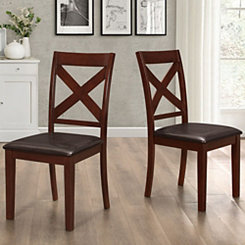 Espresso Wood X Backed Dining Chairs, Set of 2