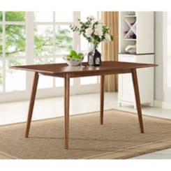 Brown Wood Mid-Century Dining Table