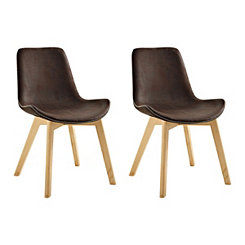 Suede Edge Stitched Brown Dining Chairs, Set of 2