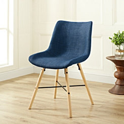 Blue Linen Upholstered Dining Chairs, Set of 2
