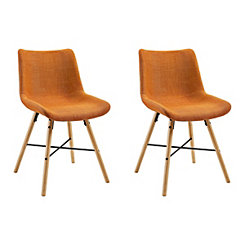 Orange Linen Upholstered Dining Chairs, Set of 2