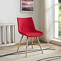 Red Linen Upholstered Dining Chairs, Set of 2