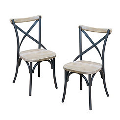 Reclaimed Wood Industrial Dining Chairs, Set of 2