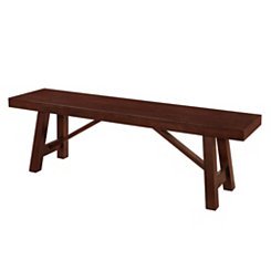 Trestle Espresso Wood Dining Bench