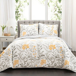 Addie Floral Yellow 3-pc. Full/Queen Quilt Set