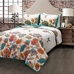 Turquoise Bird & Flower 3-pc. Full/Queen Quilt Set