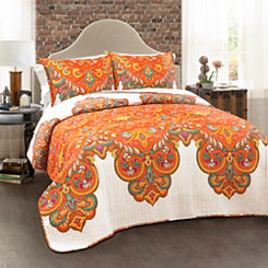 Tangerine Boho Chic 3-pc. Full/Queen Quilt Set