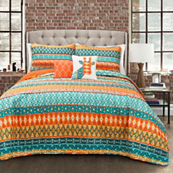 Turquoise Viola Stripe 5-pc. Full/Queen Quilt Set