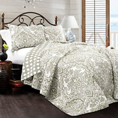 Abbott Sage 3-pc. King Quilt Set