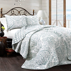 Abbott Blue 3-pc. King Quilt Set