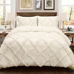 Ivory Diamond Ruffle 3-pc. King Comforter Set