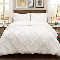 White Diamond Ruffle 3-pc. King Comforter Set