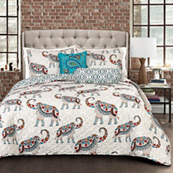 Navy Hadi Elephants 5-pc. Full/Queen Quilt Set